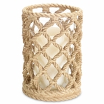 """7.5"""" Rope Look Pillar Candle Holder, Set of 3"""