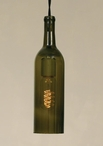 750 ml Antique Green Wine Bottle Open Bottom Pendant Lamp Light