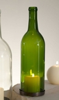 750 ml Emerald Green Wine Bottle Pillar Candle Holders, Set of 2
