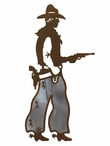 "8"" Burnished Cowboy with Pistol Metal Wall Art"