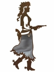 "8"" Burnished Cowgirl with Pistol Metal Wall Art"