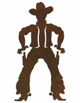 "8"" Cowboy Drawing Pistol Metal Wall Art"