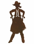 "8"" Cowgirl Drawing Pistol Metal Wall Art"