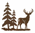 "8"" Deer and Pine Trees Metal Wall Art"