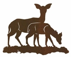 "8"" Doe and Fawn Metal Wall Art"