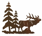 "8"" Elk and Pine Trees Metal Wall Art"
