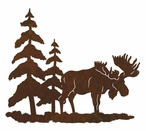 "8"" Moose and Pine Trees Metal Wall Art"