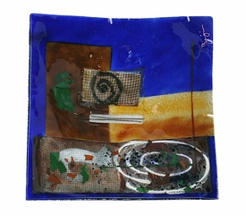Abstract Shapes Large Square Fused Glass Platter Charger