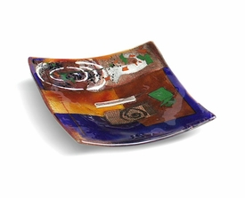Abstract Shapes Medium Square Fused Glass Plate