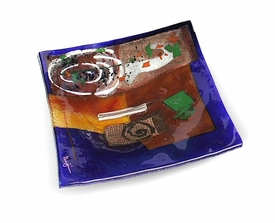 Abstract Shapes Medium Square Fused Glass Platter Charger