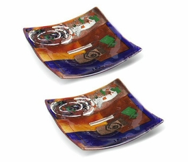 Abstract Shapes Mini Square Fused Glass Plate, Set of 2