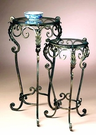 Acanthus Leaf Bronze Iron Nesting Tables, Set of 2