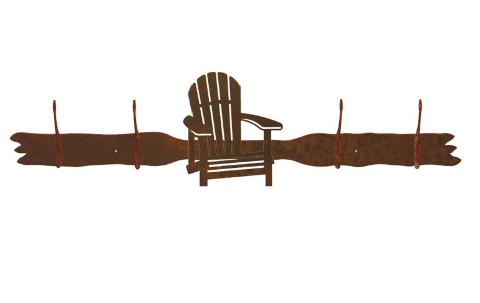 Adirondack Chair Four Hook Metal Wall Coat Rack
