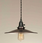 Aged Copper Dish Pendant Lamp Light