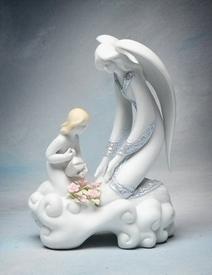 Angel and Girl Watering Flower Porcelain Figurine