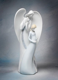 Angel and Pregnant Mother Porcelain Figurine Sculpture