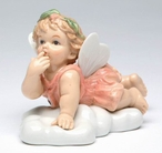 Angel Girl on a Cloud Porcelain Sculpture