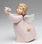 Angel Holding a Dove Bird on Her Hands Porcelain Sculpture
