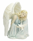 Angel Leaning on Right Knee with a Dove in Her Right Hand Sculpture