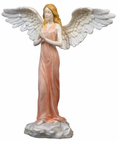 Angel Praying Coral Dress Porcelain Sculpture