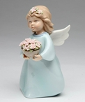 Angel with a Basketful of Flowers Porcelain Sculpture