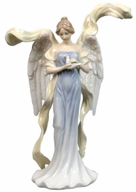 Angel with Dove in Blue Dress Porcelain Sculpture