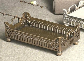 Antique Brass Gallery Guest Towel Tray, Set of 4