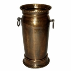Antique Brass Hammered Umbrella Stand with Silver Rings