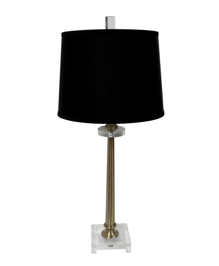 antique brass lucite table lamp with shade lighting dessau home. Black Bedroom Furniture Sets. Home Design Ideas
