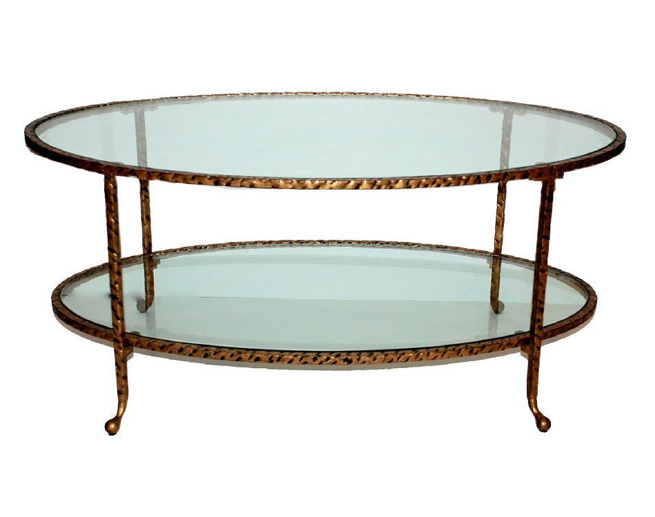 Antique Gold Hammered Iron Oval Coffee Table With Glass Dessau Home
