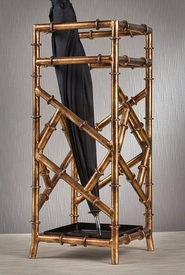 Antique Gold Iron Bamboo Umbrella Stand