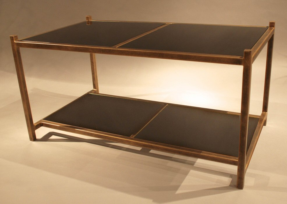 Antique Gold Iron Coffee Table With Glass Dessau Home ME3016