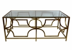 Antique Gold Rectangle Greek Key Iron Coffee Table with Glass Top