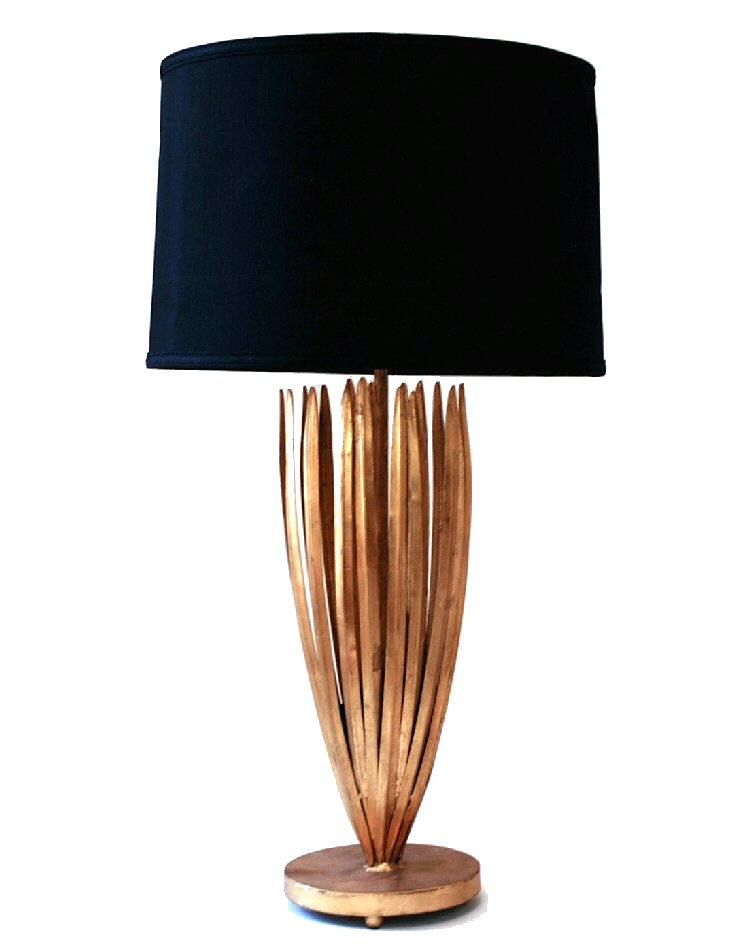 antique gold reed iron table lamp with black shade lighting dessau. Black Bedroom Furniture Sets. Home Design Ideas