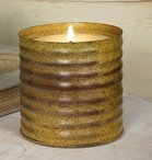 "Antique Mustard 3"" Ribbed Candle Can Pillar Candle Holder, Set of 4"