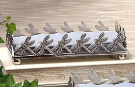 Antique Silver Dragonfly Guest Towel Holder, Set of 4