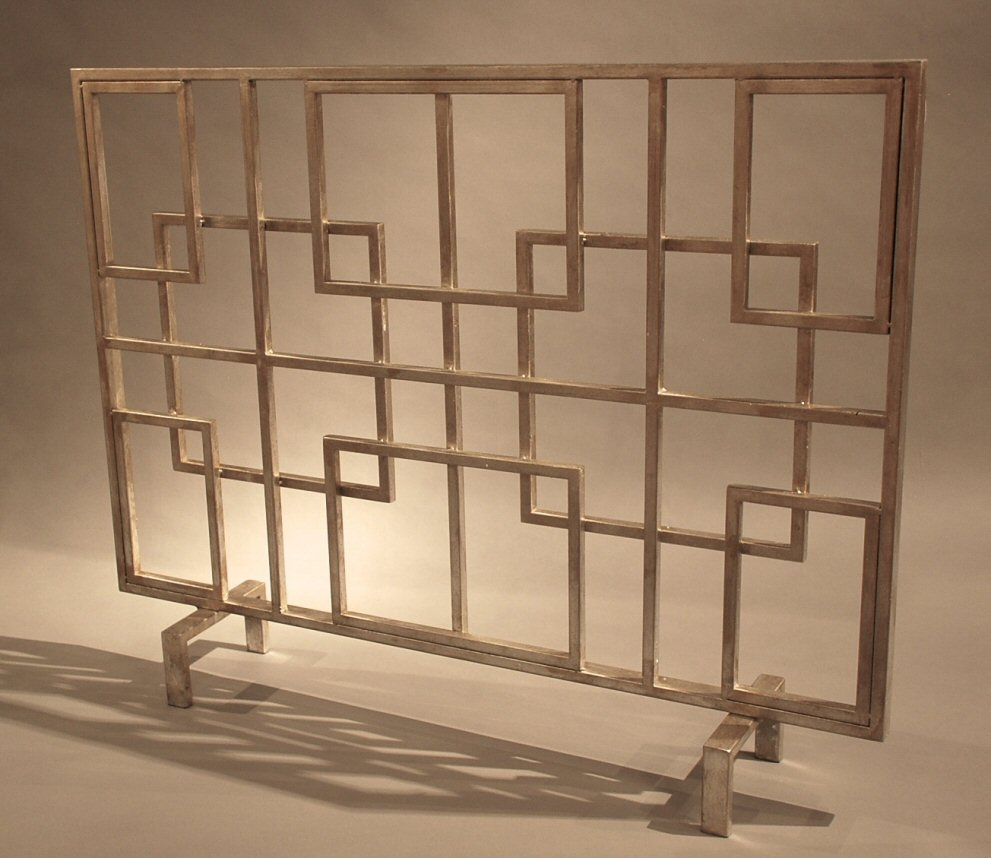 antique silver squares iron fireplace screen screen