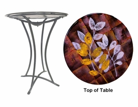 Autumn Leaves Fused Glass Metal Table