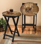 Autumn Run Whitetail Deer Tray Tables with Stand, Set of 2