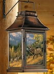 Autumn Song Elk Metal and Glass Candle Lantern