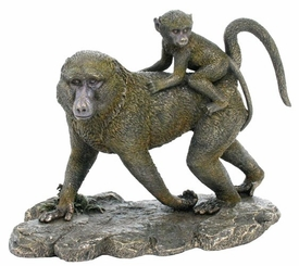 Baboon and Baby Baboon Sculpture