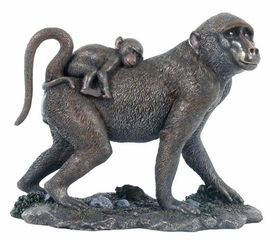Baboon with Baby Baboon on Back Sculpture