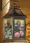 Backyard Beauties Birds and Flowers Metal and Glass Candle Lantern