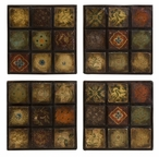 Barberry Hand Painted Ceramic Wall Art Tiles, Set of 4