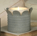 "Barn Roof 3"" Candle Can with Petals Pillar Candle Holder, Set of 4"