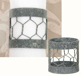 Barn Roof Chicken Wire Napkin Rings, Set of 6