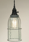 Barn Roof Half Gallon Caged Open Bottom Mason Jar Pendant Lamp Light