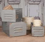 Barn Roof Metal Locker Bins, Set of 3