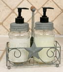 Barn Roof Star Caddies with Glass Soap and Lotion Dispensers, Set of 2