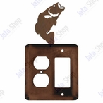 Bass Fish Double Metal Outlet Cover with Single Rocker